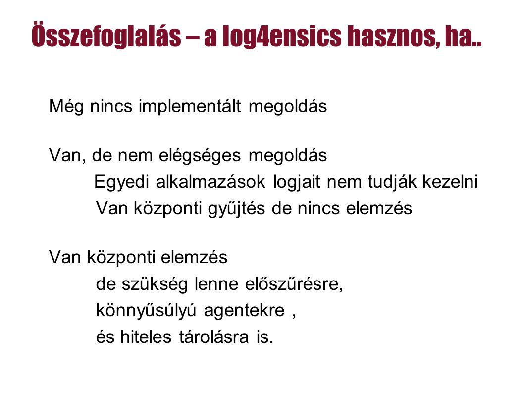 Összefoglalás – a log4ensics hasznos, ha..