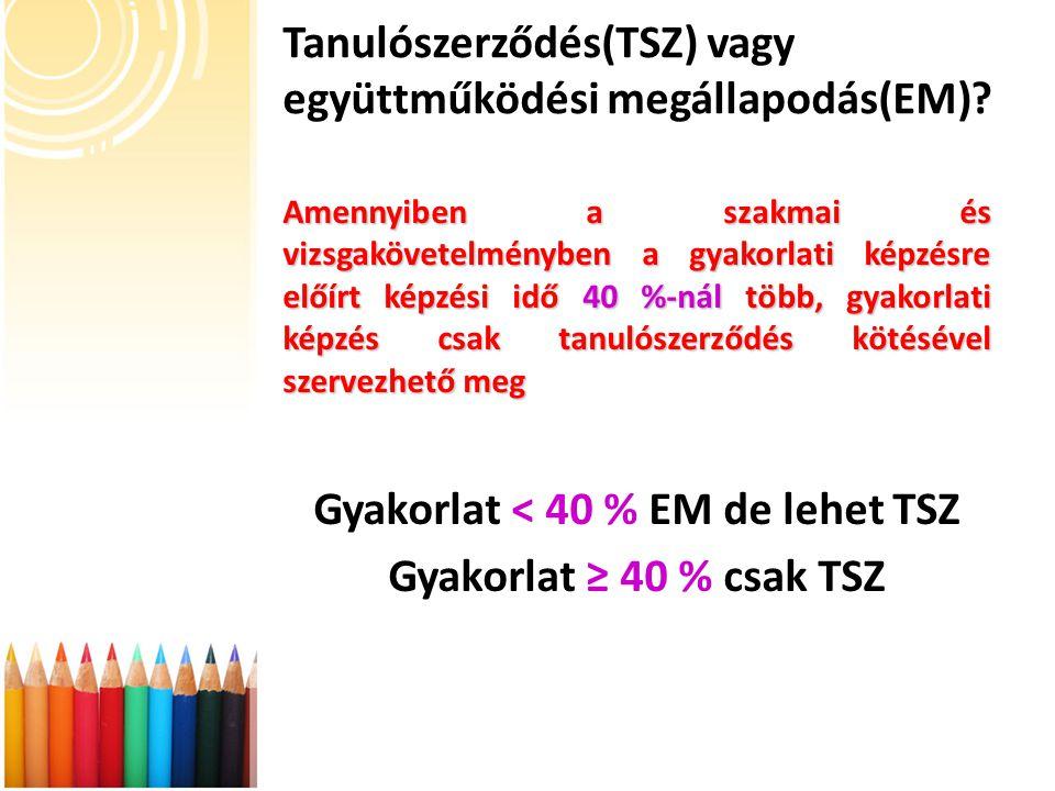 Tanulószerződés(TSZ) vagy együttműködési megállapodás(EM)