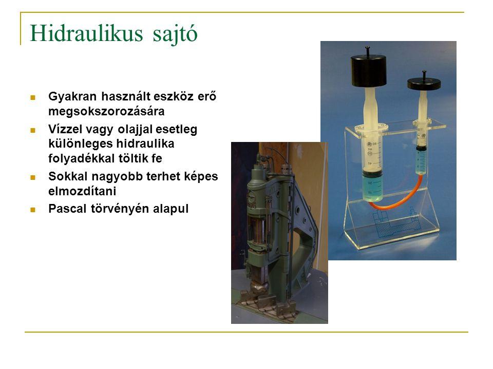 Hidraulikus sajtó Gyakran használt eszköz erő megsokszorozására