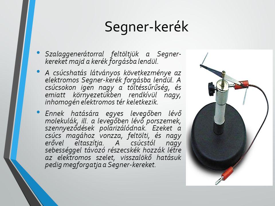 Segner-kerék Szalaggenerátorral feltöltjük a Segner- kereket majd a kerék forgásba lendül.