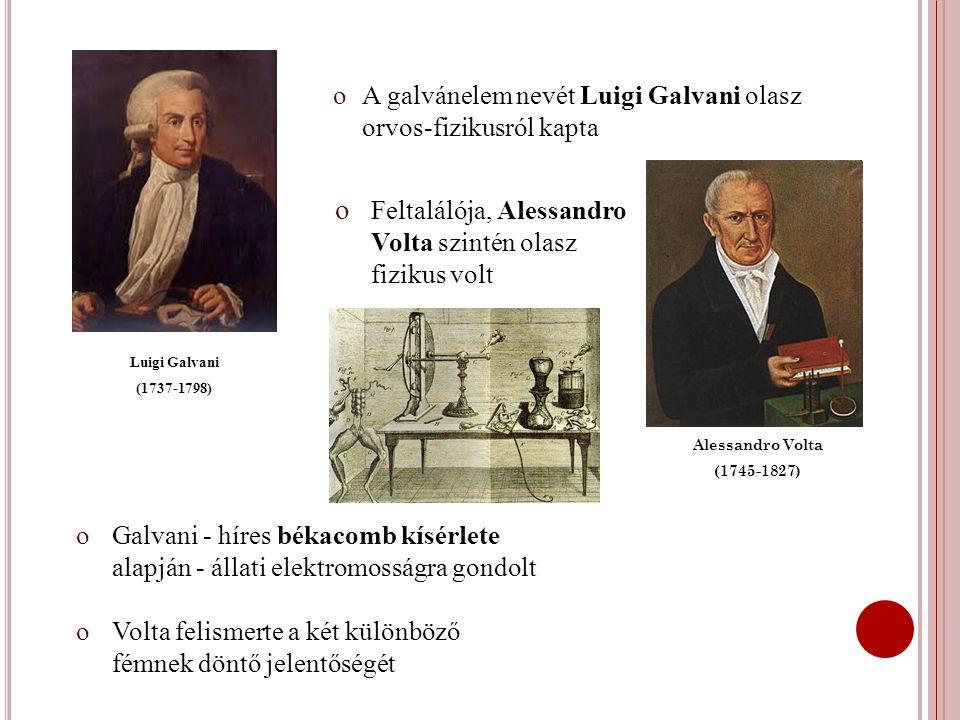 A galvánelem nevét Luigi Galvani olasz orvos-fizikusról kapta