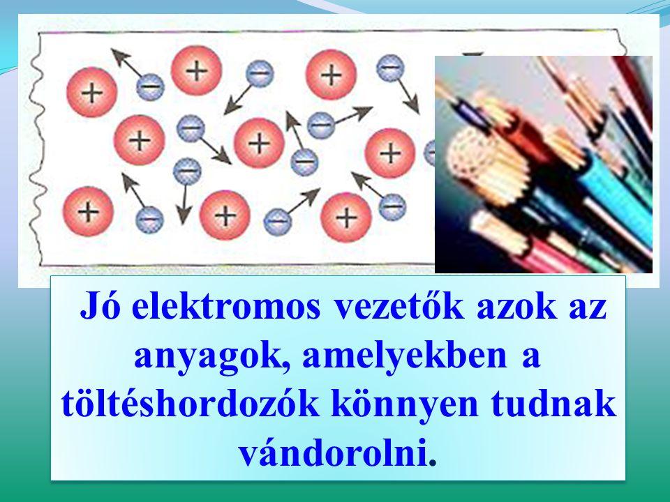 Jó elektromos vezetők azok az anyagok, amelyekben a töltéshordozók könnyen tudnak vándorolni.