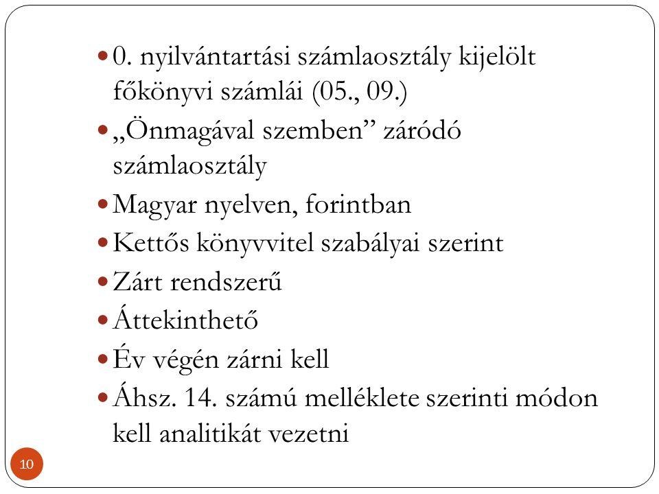 0. nyilvántartási számlaosztály kijelölt főkönyvi számlái (05., 09.)