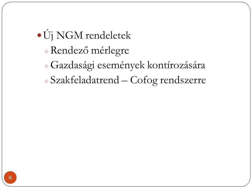 Új NGM rendeletek Rendező mérlegre. Gazdasági események kontírozására.