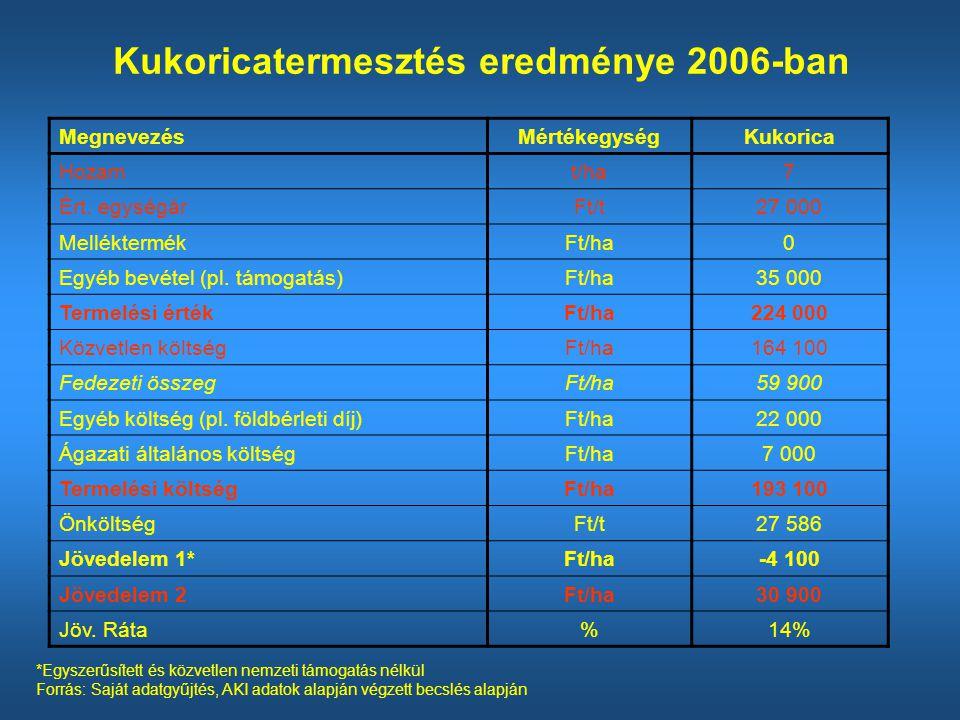 Kukoricatermesztés eredménye 2006-ban
