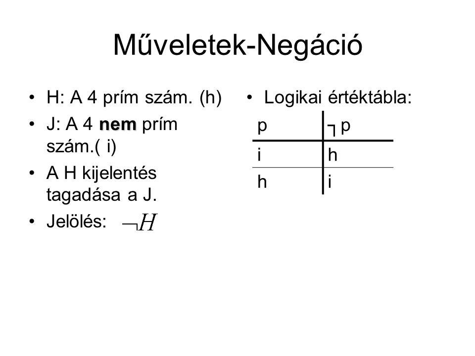 Műveletek-Negáció H: A 4 prím szám. (h) J: A 4 nem prím szám.( i)