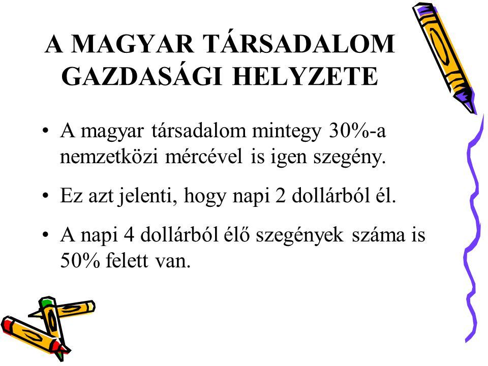 A MAGYAR TÁRSADALOM GAZDASÁGI HELYZETE