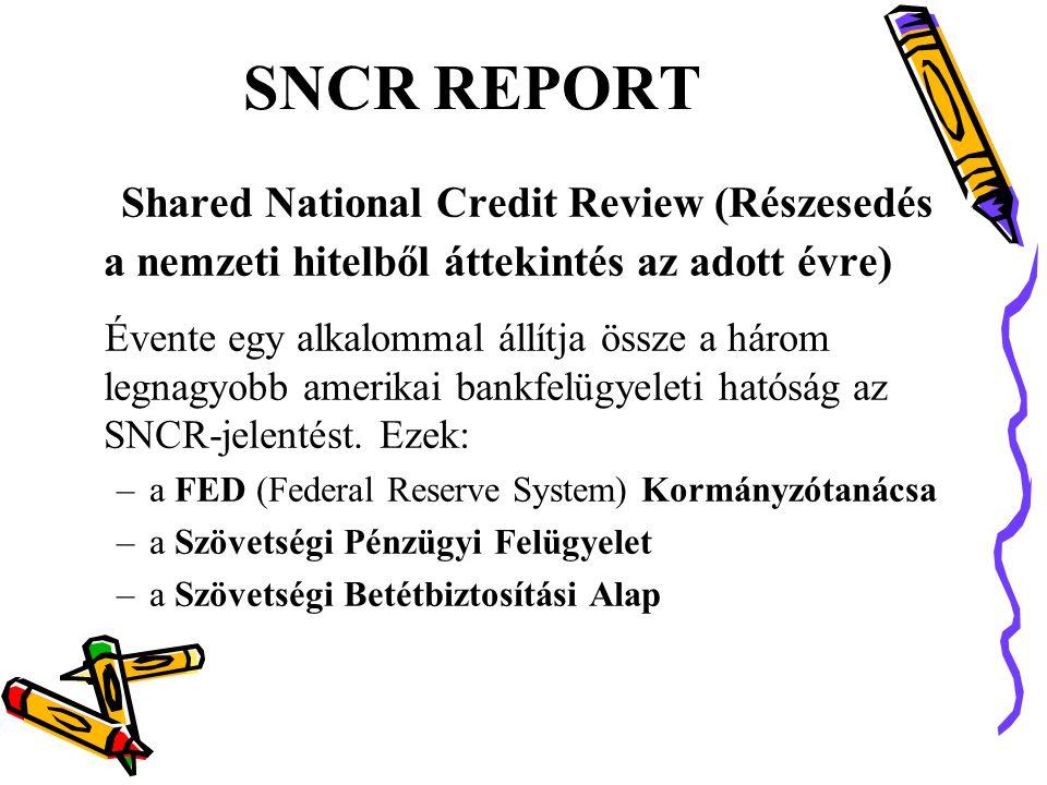 SNCR REPORT Shared National Credit Review (Részesedés a nemzeti hitelből áttekintés az adott évre)