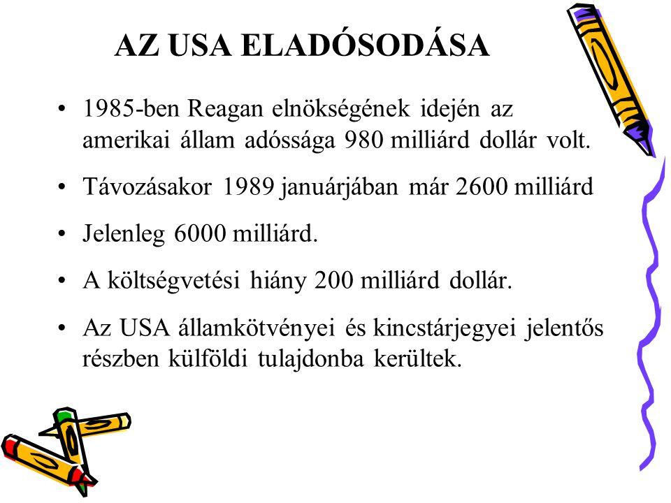 AZ USA ELADÓSODÁSA 1985-ben Reagan elnökségének idején az amerikai állam adóssága 980 milliárd dollár volt.