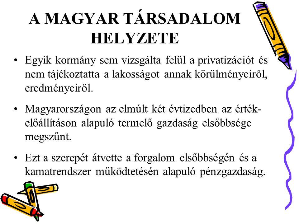 A MAGYAR TÁRSADALOM HELYZETE