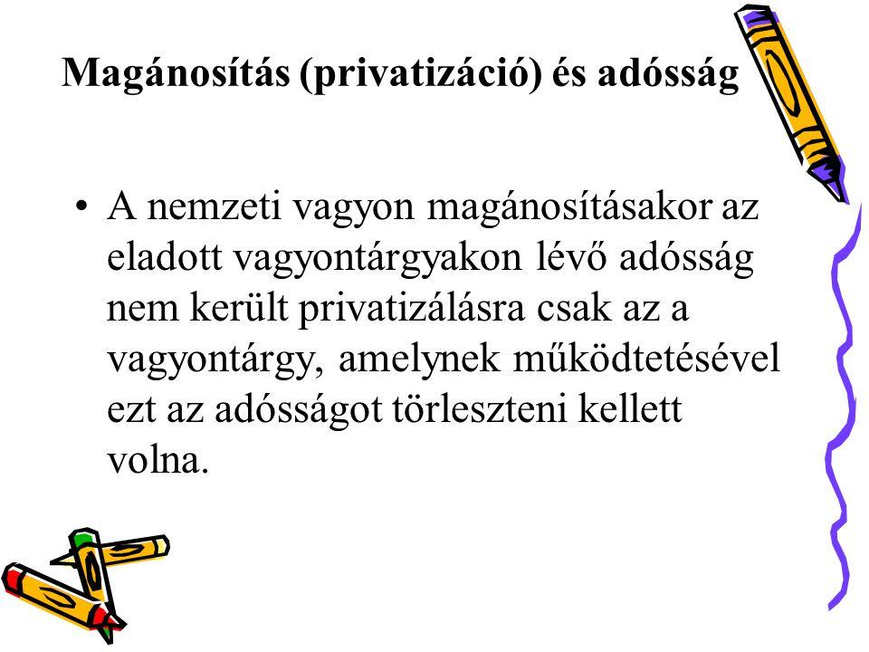 Magánosítás (privatizáció) és adósság