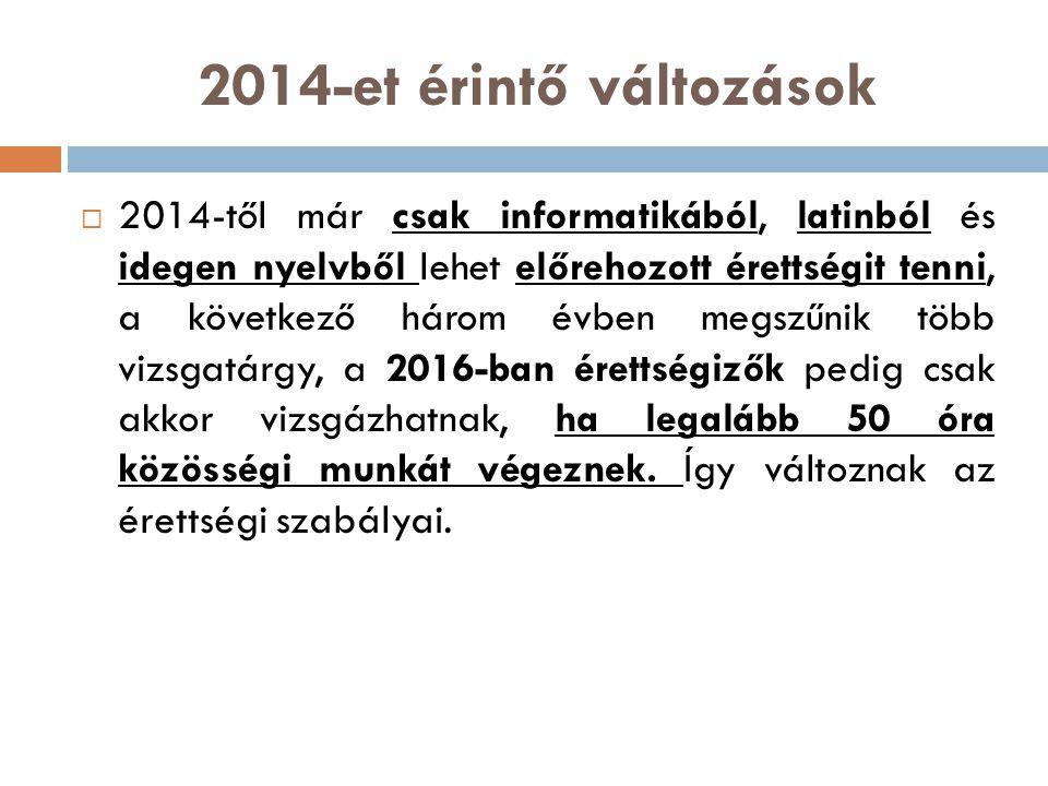 2014-et érintő változások