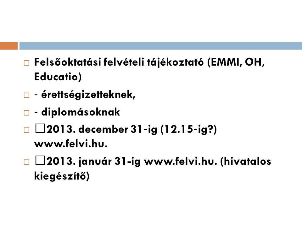 Felsőoktatási felvételi tájékoztató (EMMI, OH, Educatio)