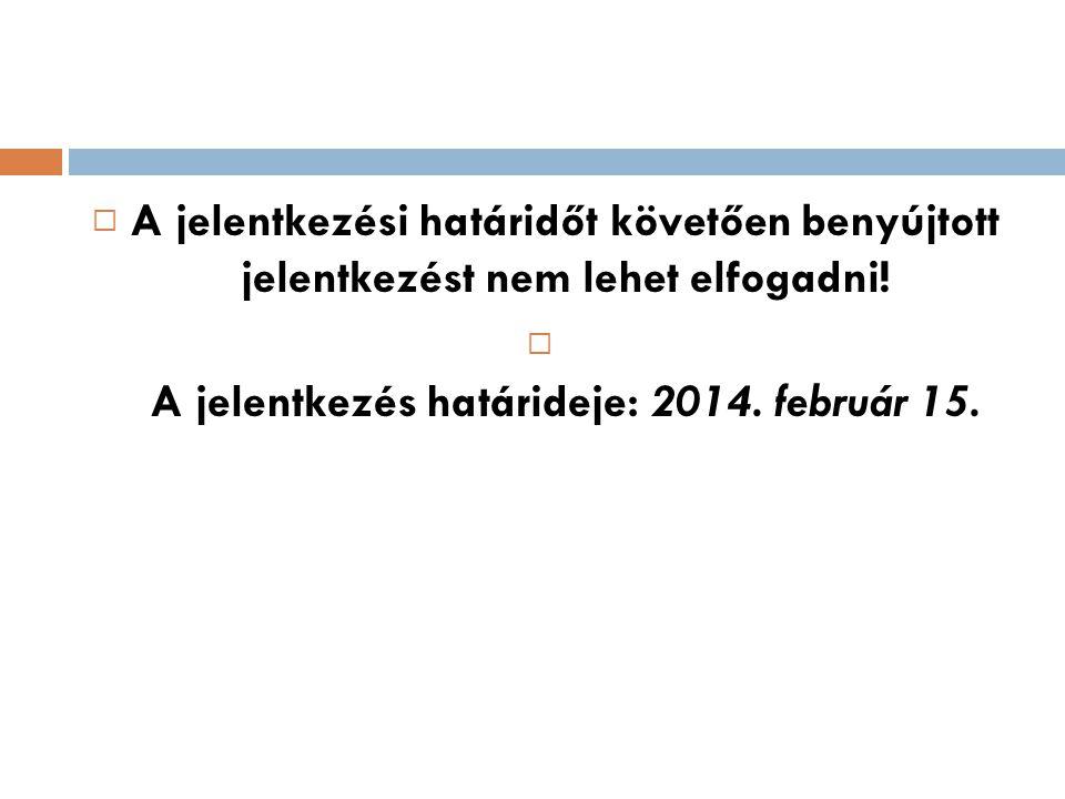 A jelentkezés határideje: 2014. február 15.