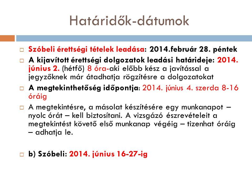 Határidők-dátumok Szóbeli érettségi tételek leadása: 2014.február 28. péntek.