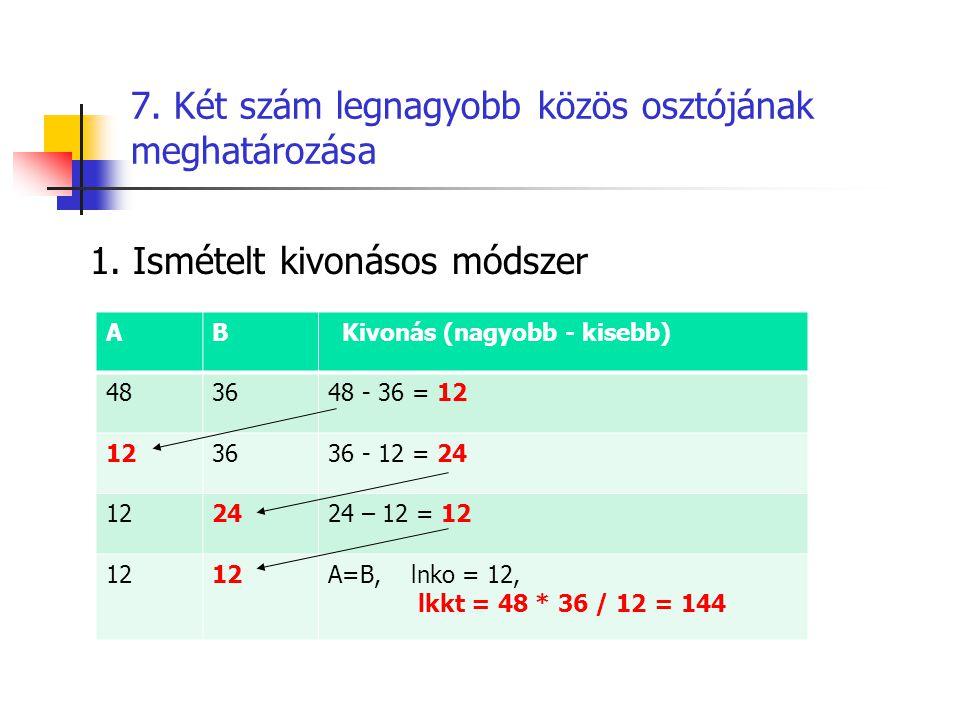 7. Két szám legnagyobb közös osztójának meghatározása