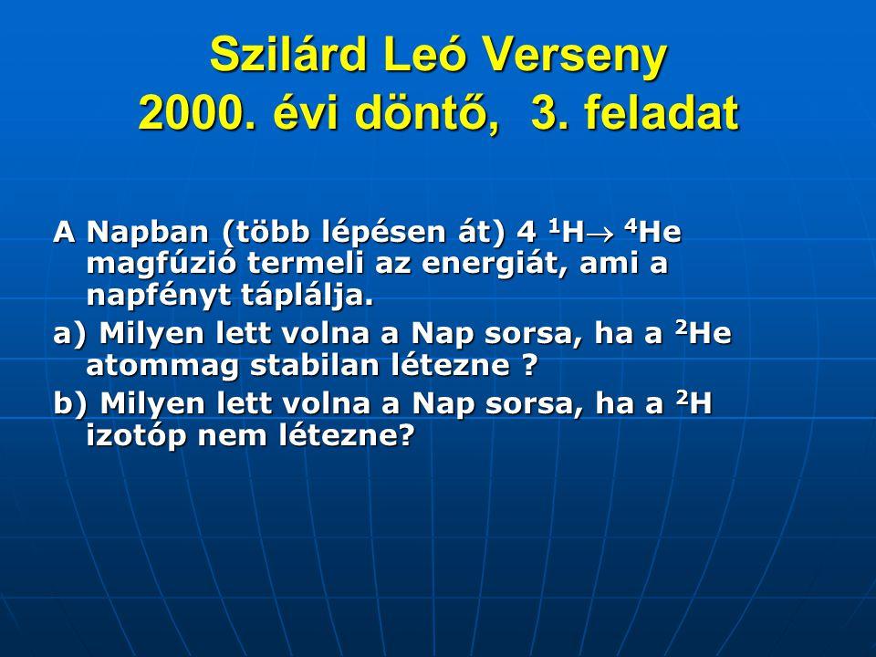 Szilárd Leó Verseny 2000. évi döntő, 3. feladat