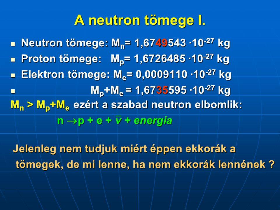 A neutron tömege I. Neutron tömege: Mn= 1,6749543 ·10-27 kg