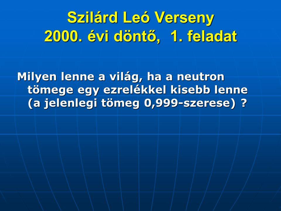 Szilárd Leó Verseny 2000. évi döntő, 1. feladat