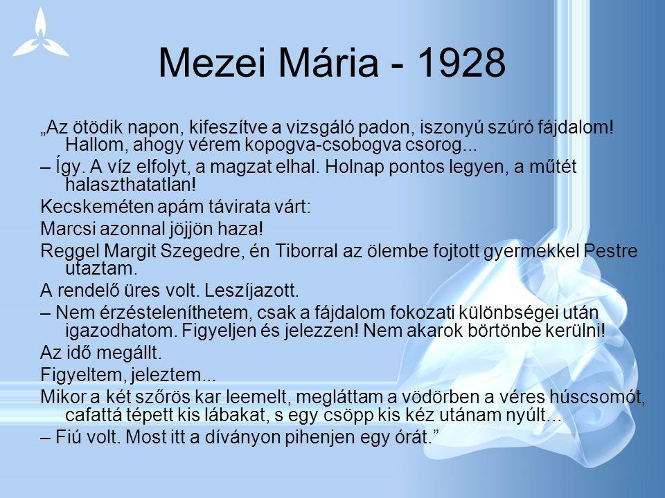 """Mezei Mária - 1928 """"Az ötödik napon, kifeszítve a vizsgáló padon, iszonyú szúró fájdalom! Hallom, ahogy vérem kopogva-csobogva csorog..."""