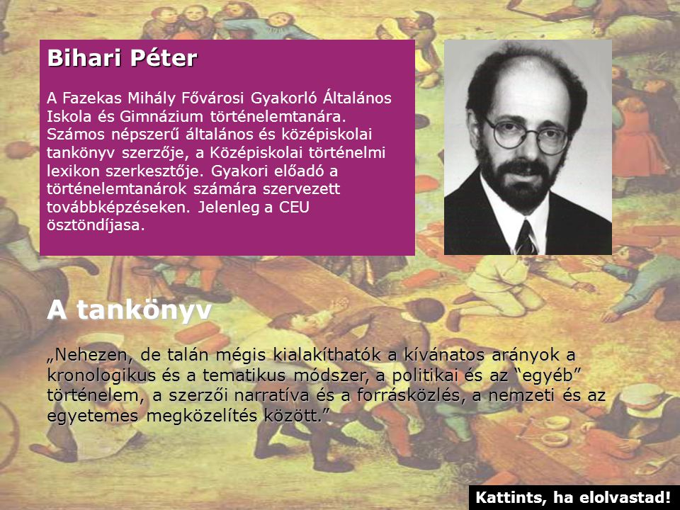 A tankönyv Bihari Péter