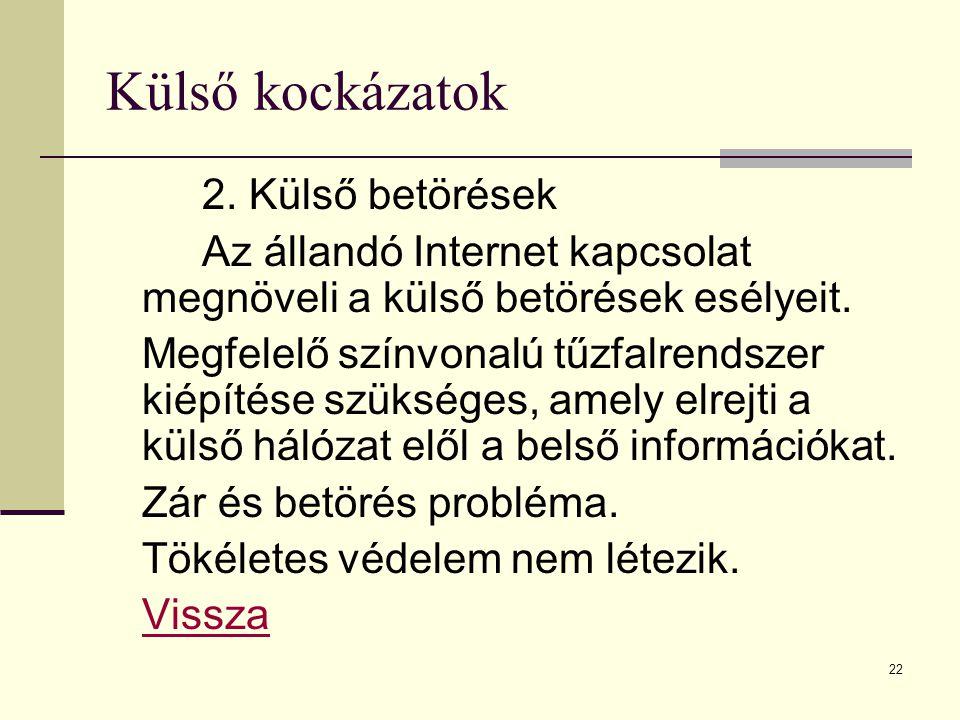 Külső kockázatok 2. Külső betörések. Az állandó Internet kapcsolat megnöveli a külső betörések esélyeit.