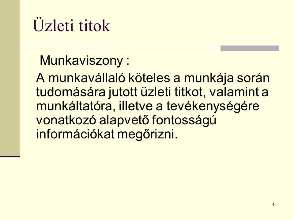 Üzleti titok Munkaviszony :