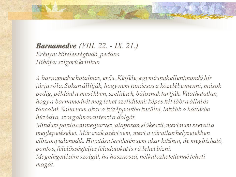 Barnamedve (VIII. 22. - IX. 21.) Erénye: kötelességtudó, pedáns Hibája: szigorú kritikus