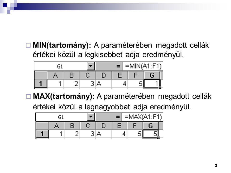MIN(tartomány): A paraméterében megadott cellák értékei közül a legkisebbet adja eredményül.