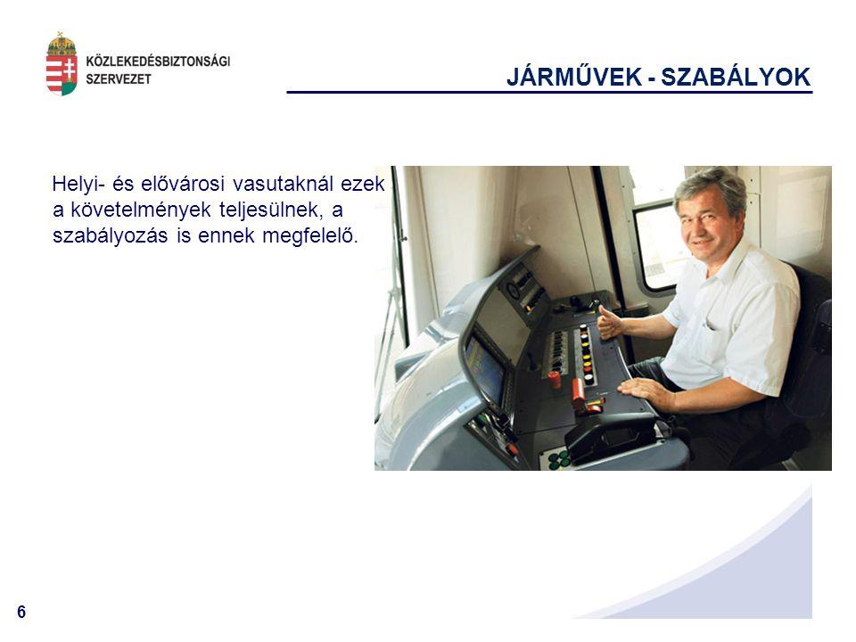 JÁRMŰVEK - SZABÁLYOK Helyi- és elővárosi vasutaknál ezek a követelmények teljesülnek, a szabályozás is ennek megfelelő.