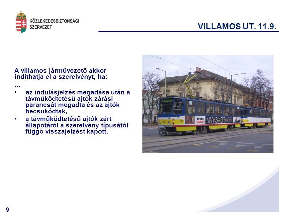 VILLAMOS UT. 11.9. A villamos járművezető akkor indíthatja el a szerelvényt, ha: …