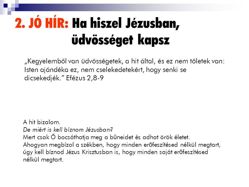 2. JÓ HÍR: Ha hiszel Jézusban, üdvösséget kapsz