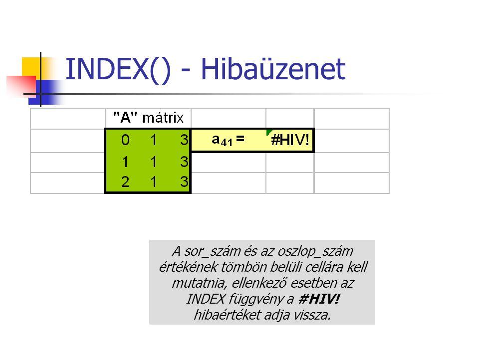 INDEX() - Hibaüzenet