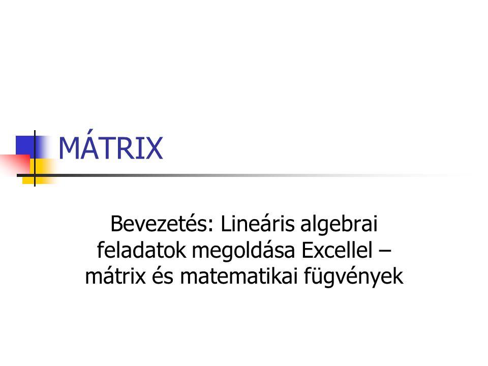 MÁTRIX Bevezetés: Lineáris algebrai feladatok megoldása Excellel – mátrix és matematikai fügvények