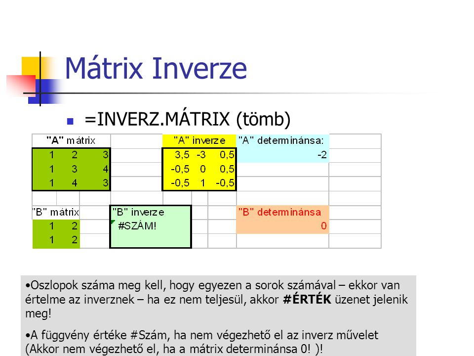 Mátrix Inverze =INVERZ.MÁTRIX (tömb)