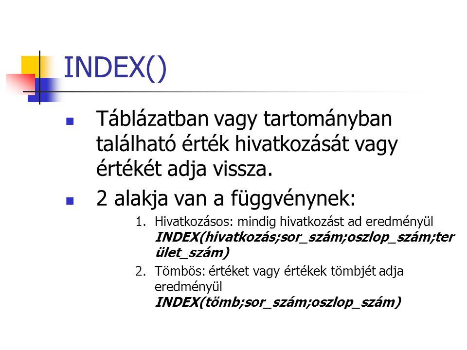 INDEX() Táblázatban vagy tartományban található érték hivatkozását vagy értékét adja vissza. 2 alakja van a függvénynek: