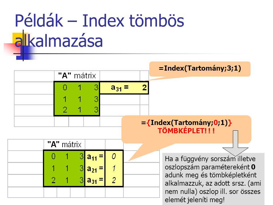 Példák – Index tömbös alkalmazása