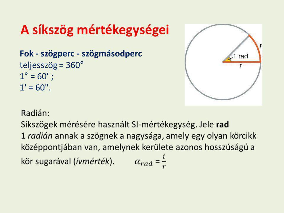 A síkszög mértékegységei