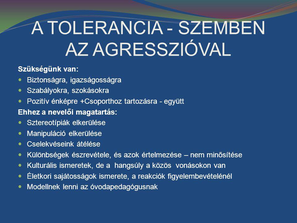 A TOLERANCIA - SZEMBEN AZ AGRESSZIÓVAL
