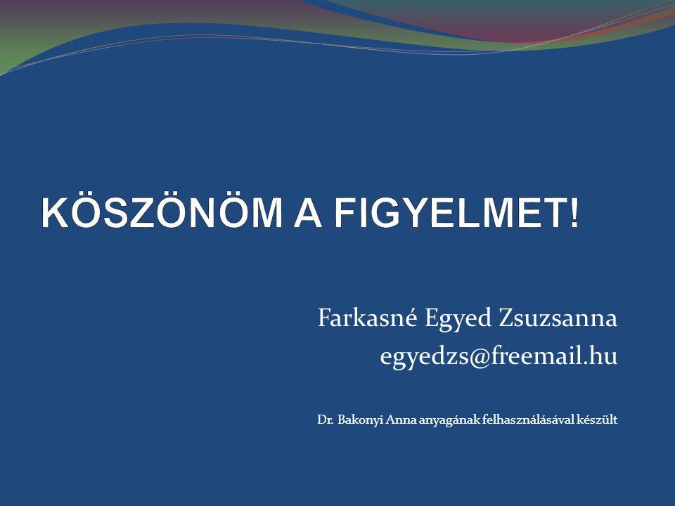 KÖSZÖNÖM A FIGYELMET! Farkasné Egyed Zsuzsanna egyedzs@freemail.hu