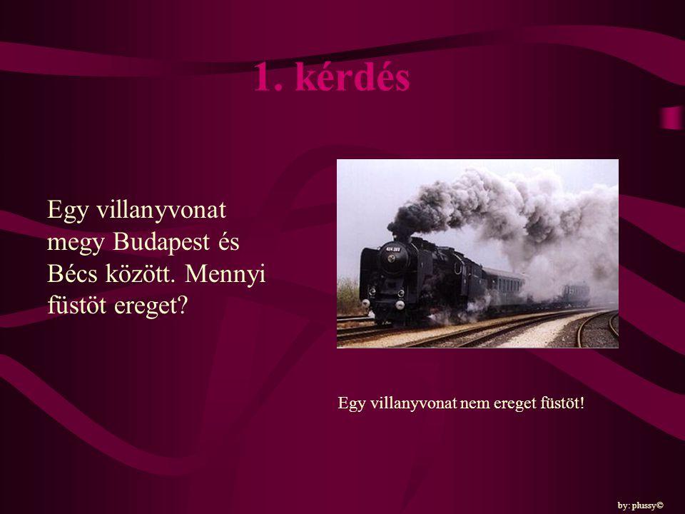 1. kérdés Egy villanyvonat megy Budapest és Bécs között. Mennyi füstöt ereget Egy villanyvonat nem ereget füstöt!