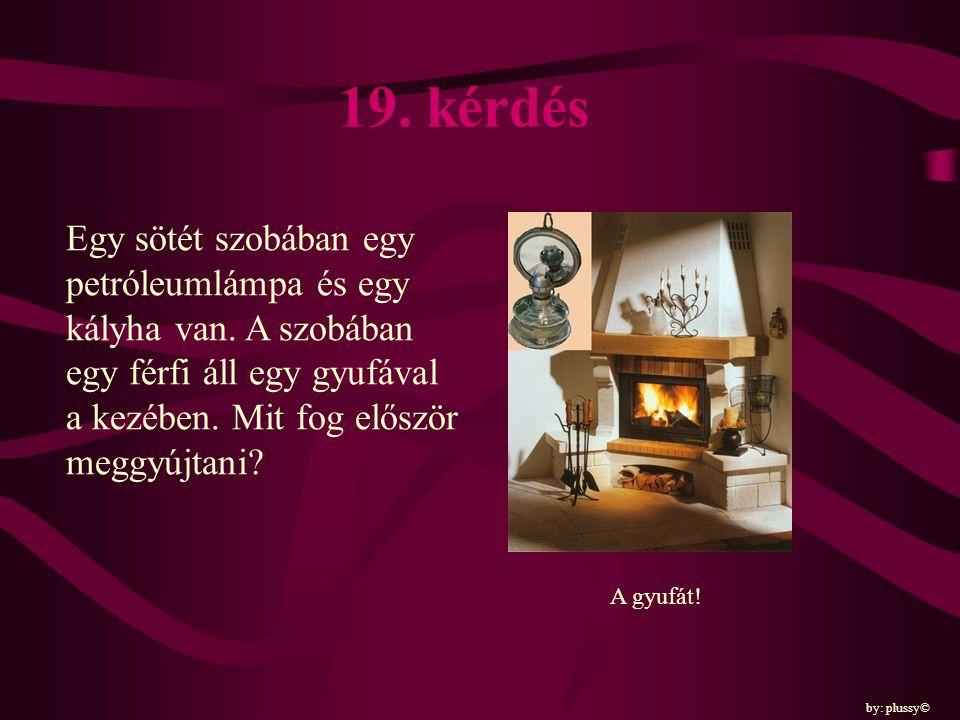 19. kérdés Egy sötét szobában egy petróleumlámpa és egy kályha van. A szobában egy férfi áll egy gyufával a kezében. Mit fog először meggyújtani