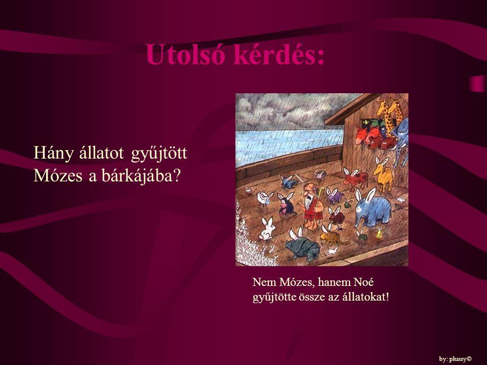 Utolsó kérdés: Hány állatot gyűjtött Mózes a bárkájába