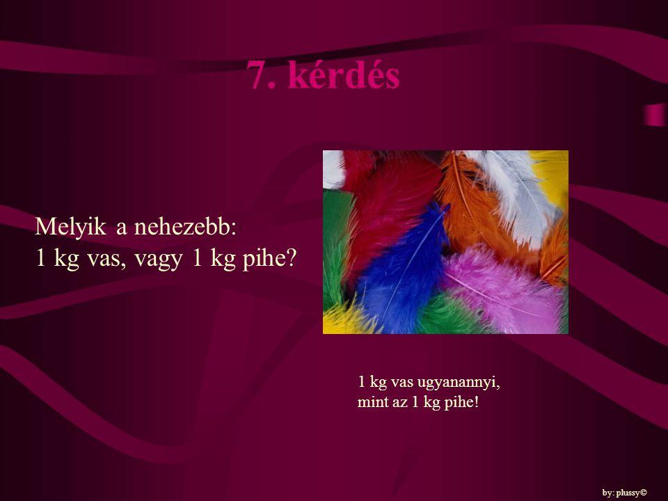 7. kérdés Melyik a nehezebb: 1 kg vas, vagy 1 kg pihe