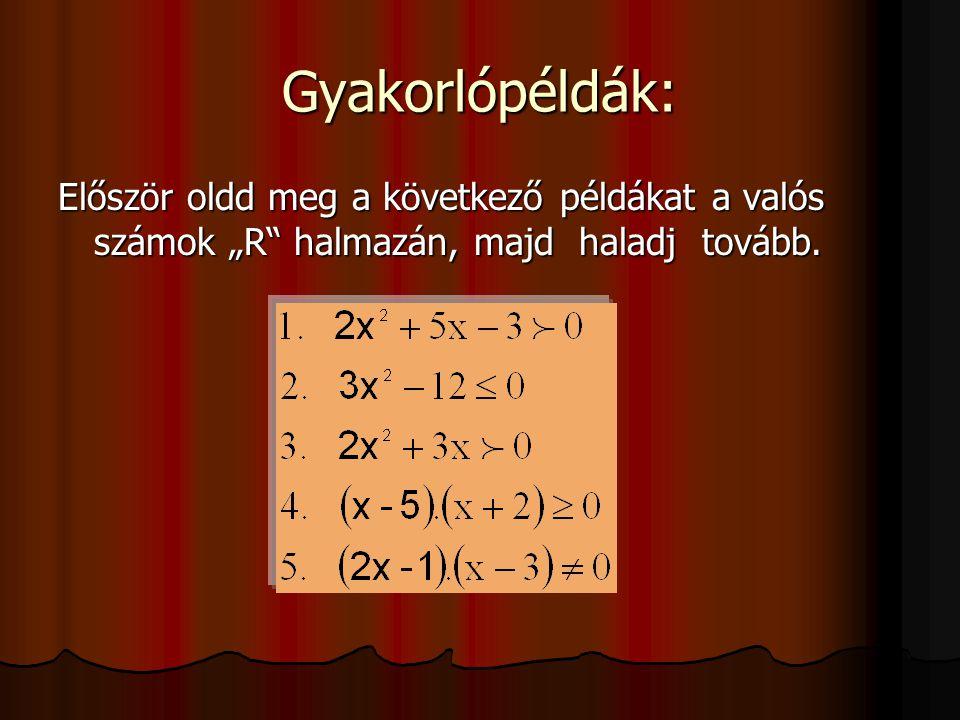 """Gyakorlópéldák: Először oldd meg a következő példákat a valós számok """"R halmazán, majd haladj tovább."""