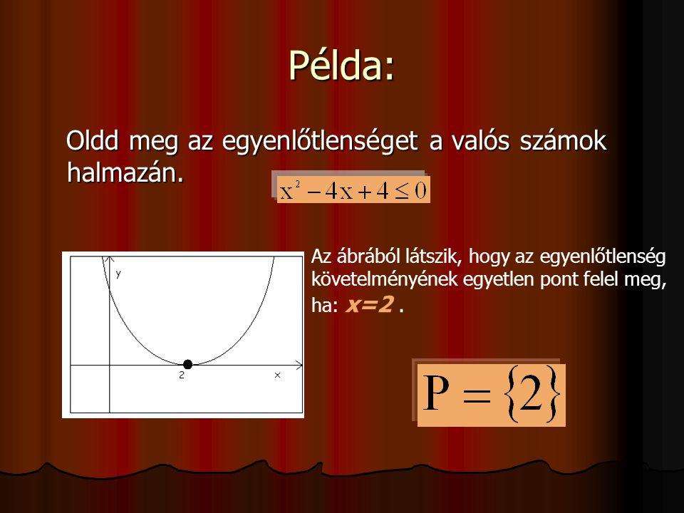 Példa: Oldd meg az egyenlőtlenséget a valós számok halmazán.
