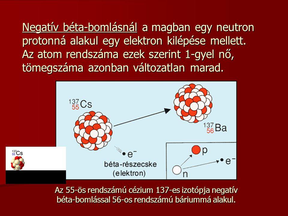 Negatív béta-bomlásnál a magban egy neutron protonná alakul egy elektron kilépése mellett. Az atom rendszáma ezek szerint 1-gyel nő, tömegszáma azonban változatlan marad.