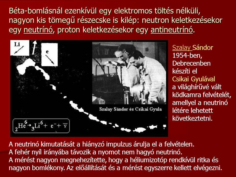 Béta-bomlásnál ezenkívül egy elektromos töltés nélküli, nagyon kis tömegű részecske is kilép: neutron keletkezésekor egy neutrínó, proton keletkezésekor egy antineutrínó.