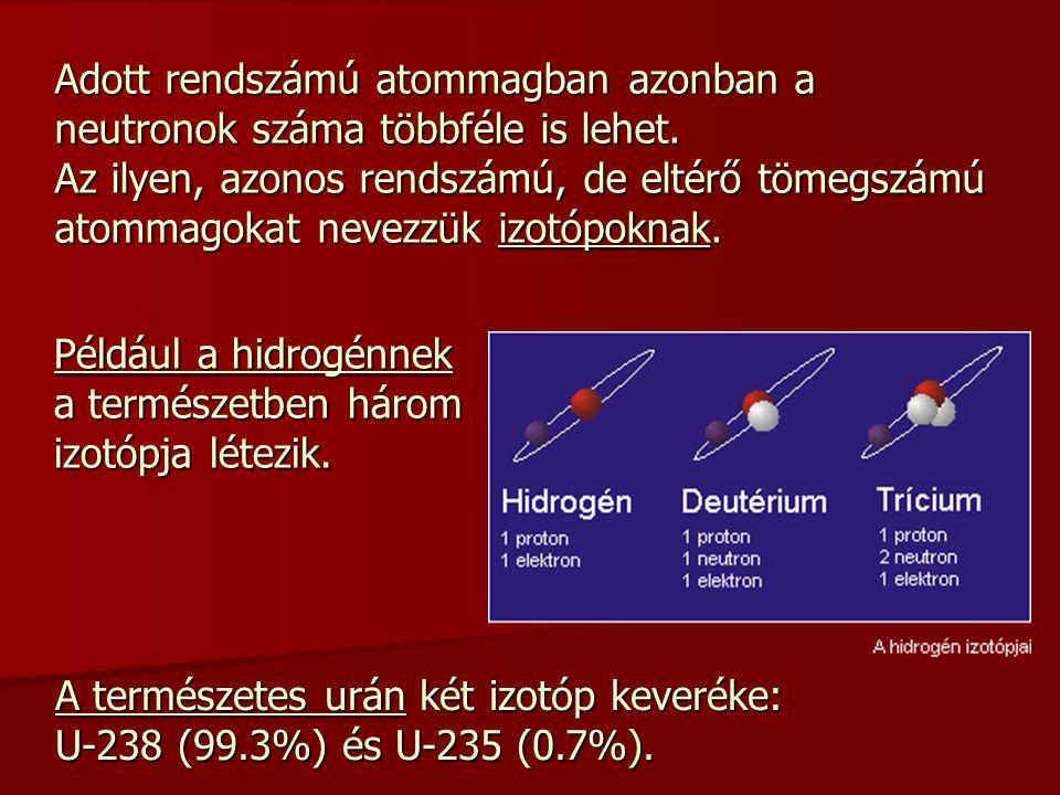 Adott rendszámú atommagban azonban a neutronok száma többféle is lehet