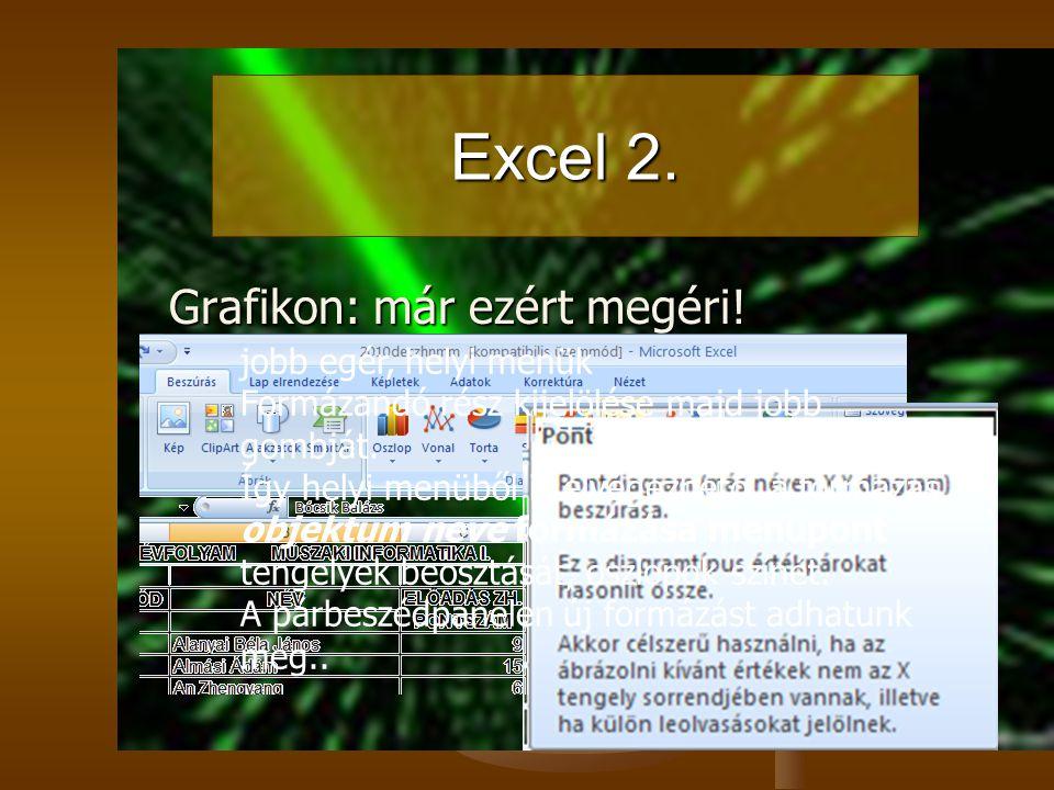 Excel 2. Grafikon: már ezért megéri! jobb egér, helyi menük